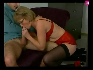 Mature Secretary Pleases in Red Satin &_ Stockings