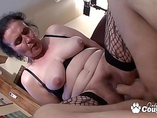 Chunky Old Granny Puts On Some Fishnet Stockings &_ Gets Fucked