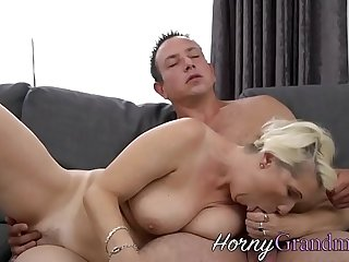 Busty granny spunked on