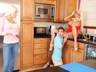 Sexy busty teen Logan Pierce has threesome with stepmom Nikita Von James