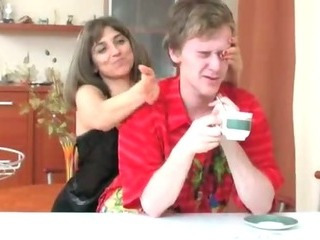 Russian Mom Fucking Son in Kitchen