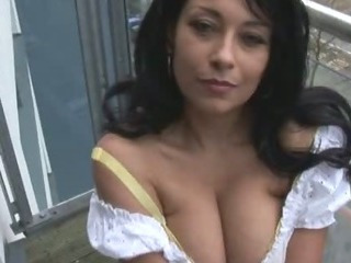 Mature busty Danica stripping and showing nice bush