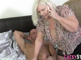 Busty gran in stockings gets pussy banged