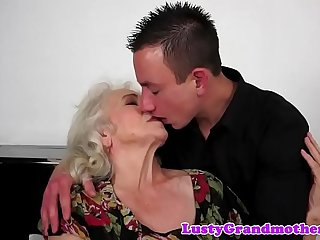 Hairy grandma banged deeply before titfucking